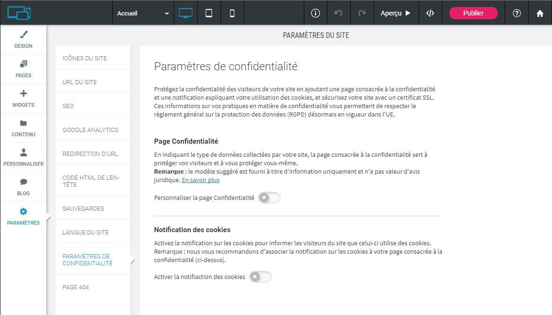 Simply Site - Paramètres de confidentialite
