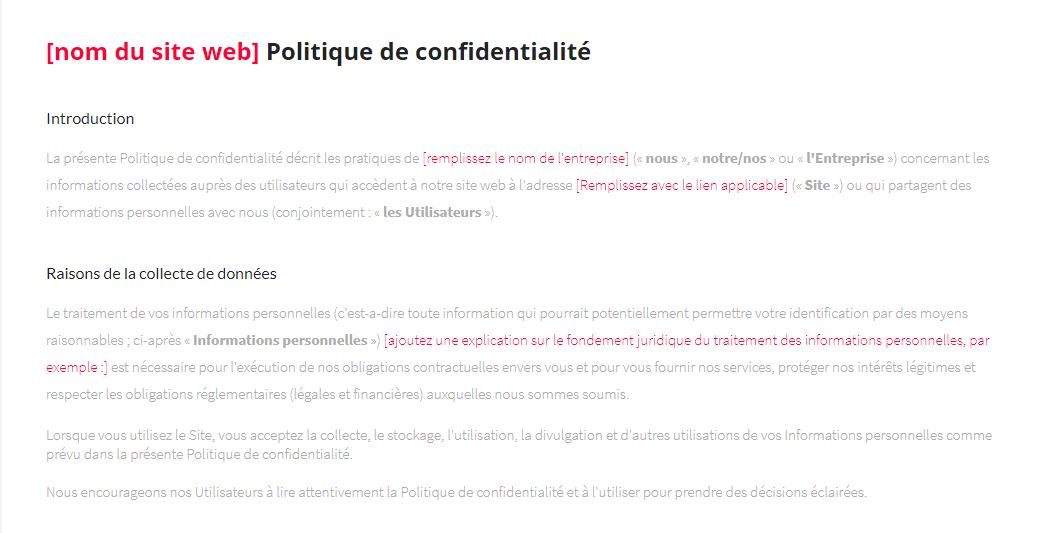 Simply Site - Nom du site web Politique de confidentialite