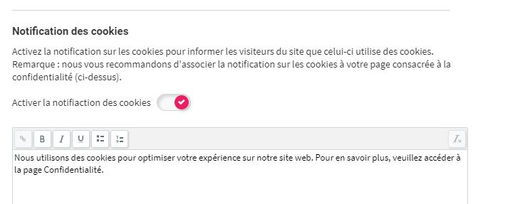 Simply Site - notification des cookies